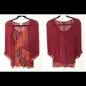 Lucky Brand Burgundy Sheer Bead Embellished Top